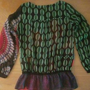 Desigual Tops - Desigual button down shear blouse with ruffle hem